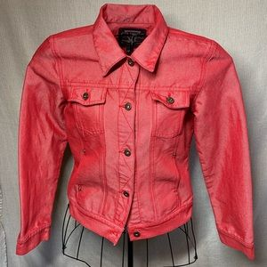 VTG Guess Red Denim Jacket Size M Trucker Fitted